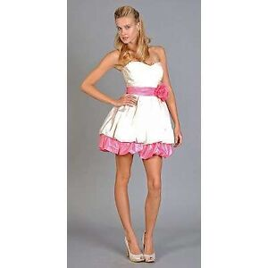 Betsey Johnson Cream And Pink Bubble Dress
