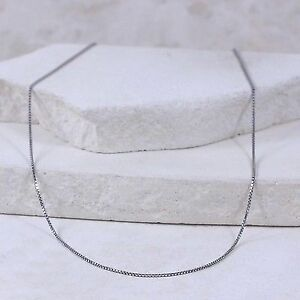 """Sterling Silver ITALY 1mm Box Chain 18.25"""" (#2.10)"""