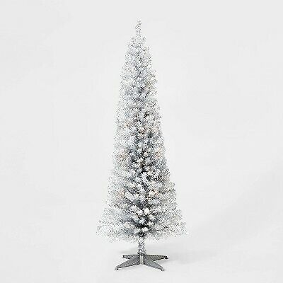 6ft Pre-lit Artificial Christmas Tree Silver Tinsel Alberta Spruce Clear Lights