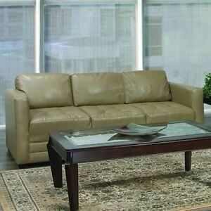 2 Piece Beige Leather Sofa Couch and Loveseat Set - 1 year old!