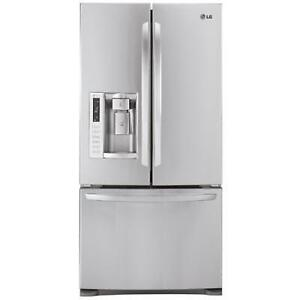 NEW LG STAINLESS STEEL FRENCH 3-DOOR REFRIGERATOR $1699