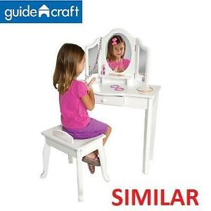 NEW GUIDECRAFT KID'S VANITY  STOOL WHITE - PRETEND PLAY - FURNITURE 106291817