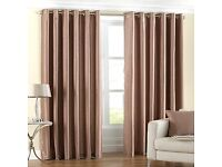 """66""""x 55"""" Latte Faux Silk Lined Eyelet Ring Top Curtains"""