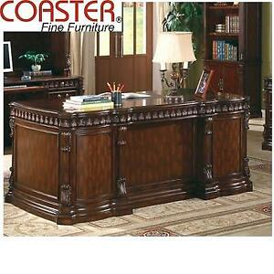 NEW* COASTER EXECUTIVE DESK 800800 199107556 WITH LEATHER INSERT ON TOP