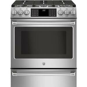 STOVE GE CAFE SLIDE-IN DUEL FUEL STAINLESS STEEL.MODEL.CC2S986SE