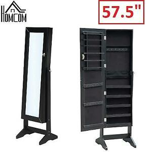 NEW MIRRORED JEWELRY CABINET 831-067BK 207191715 HOMCOM BLACK 57.5""