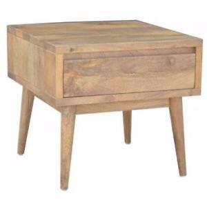 """Retro"" Hardwood Square 1 Drawer Side Lamp Table: Oak Colour Melbourne CBD Melbourne City Preview"