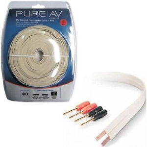 BELKIN Pure AV 30 ft. 15GA Flat Speaker Cable and Pins - 2 Conductors - White