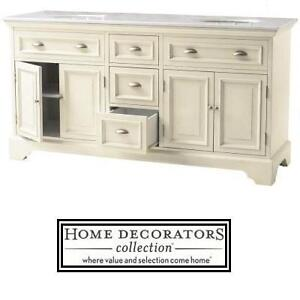"NEW HDC SADIE 67"" DOUBLE VANITY - 117803385 - HOME DECORATORS COLLECTION - ANTIQUE CREAM - W/MARBLE TOP IN WHITE BATH..."