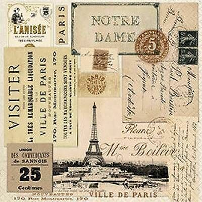 4 x Paper Napkins - Paris - Ideal for Decoupage / Napkin Art[1660928]