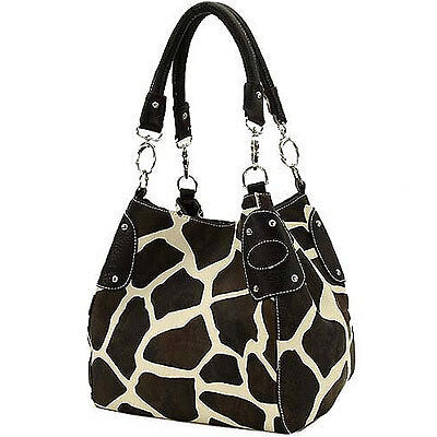 BLACK BROWN GIRAFFE PRINT PURSE HANDBAG TOTE BAG NEW XL on Rummage