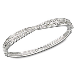Swarovski hinged crossed bangle bracelet