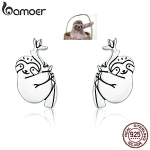 LOVELY SLOTH AUTHENTIC S925 STERLING SILVER STUD EARRINGS