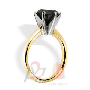 4.00 Carat TCW Black Diamond A 14K Yellow Gold 6 Prong Solitaire Engagement Ring