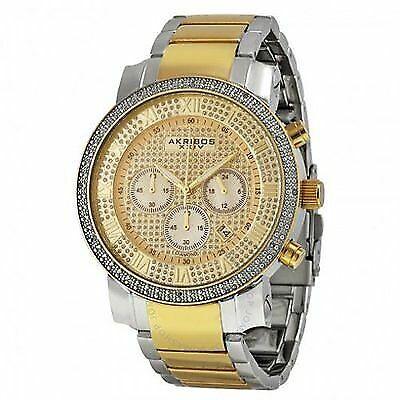 Akribos XXIV Men's AK439TT Grandiose Diamond Gold Dial Chronograph Watch