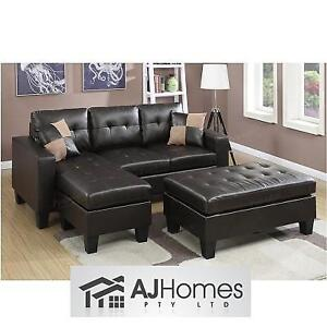 NEW AJHS SECTIONAL SOFA W/ OTTOMAN - 129257324 - AJ HOMES STUDIO AKALI SLEEPER BROWN FAUX LEATHER