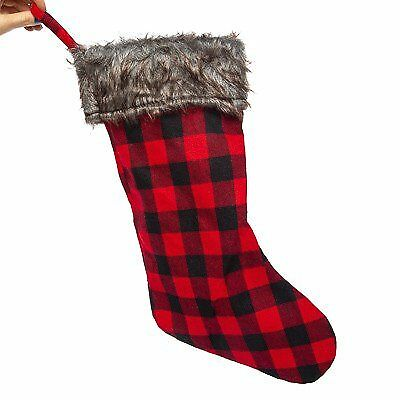 Plaid Christmas Stocking (Christmas Faux Fur Plaid Red Stocking 18in)