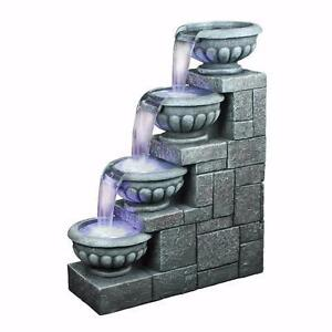 Temple of Apollo Resin Cascading Fountain with LED Light NEW