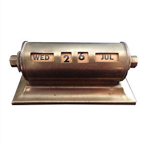 Vintage Art Deco brass perpetual desk calendar
