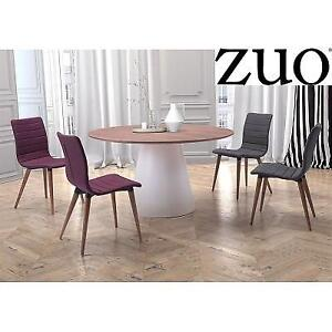"""NEW ZUO QUERY 53"""" DINING TABLE 100271-ZuoMod 160678483 WALNUT WHITE ROUND"""