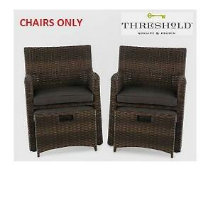 NEW* 2 HALSTED PATIO CHAIRS 009-00-8310 240038927 ARMCHAIRS THRESHOLD BROWN CHARCOAL