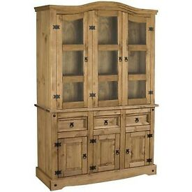 New Solid Corona Mexican pine Large 4ft6 glazed dresser display cabinet BUILT £299 Last One