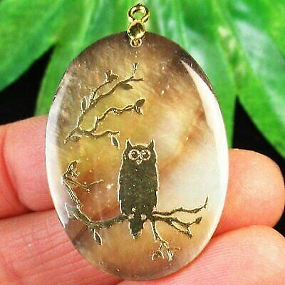 Gold Filled Carved Shell Owl Pendant Bail Already Attached Ready To Wear - $1.99