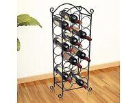 Neotechs® Stainless Steel Black Finish Wine Holder Rack Floor Standing Holds 21 Bottles