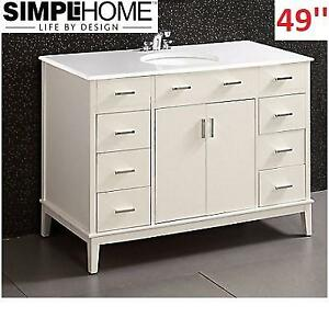 NEW* SIMPLI HOME 49'' BATH VANITY NL-URBAN-SW-48-2A 232205541 6 DRAWER 2 DOOR FREESTANDING WHITE QUARTZ TP
