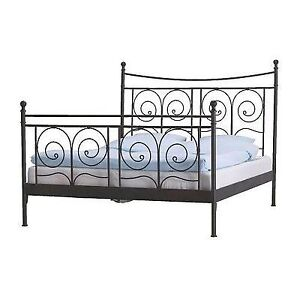 Beautiful Ikea Queen Black Steel Bed Frame - Free Delivery