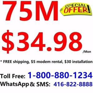 Free Installation & shipping - 75M Unlimited internet only $34.98/month, or 150M $49.98/month,no contract 1-800-880-1234