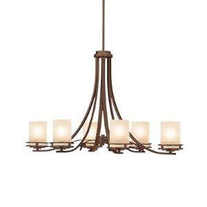 2 CHANDELIERS - BLACK NATURAL IRON & BROWN