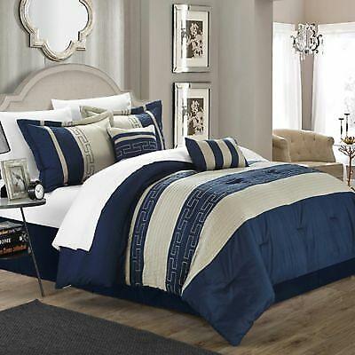 6 piece coralie comforter set navy size