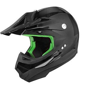 casque cross sport noir int rieur vert homologu moto scooter cyclomoteur neuf ebay. Black Bedroom Furniture Sets. Home Design Ideas