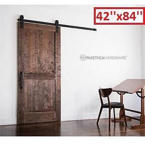 "NEW* RUSTICA HARDWARE SLIDING DOOR - 128165103 - 42"" x 84"" STAIN GLAZE CLEAR ROCKWELL BARN DOORS WOOD INTERIOR CLOSET..."
