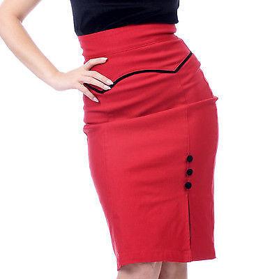 Steady Clothing Red & Black Veronica Slit Pencil Skirt Retro -