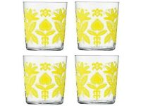 LSA Ania Tumbler - Clear/lemon yellow - Set of 4 - NEW & UNUSED
