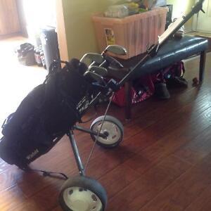 Jr. Golf Clubs, Bag, and Push Cart