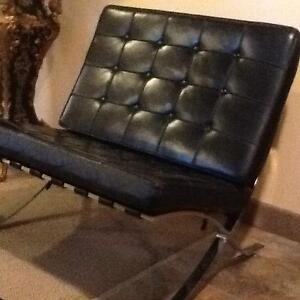 2  Italian brand black leather chair