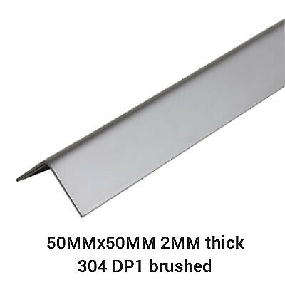 Stainless Steel 304 Grade Folded Angle. 50mmx50mm. 2mm 304 Brushed Dp1 Laser Cut