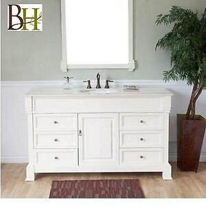 NEW* BELLATERA 60'' VANITY BT5060S-CR 205976198 ASHINGTON SINGLE CREAM WHITE MARBLE TOP BATHROOM