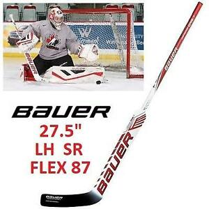 "NEW BAUER SUPREME GOALIE STICK LH 214434101 27.5"" P31 FLEX 87 SR SENIOR LEFT HAND HOCKEY WHITE BLACK RED"