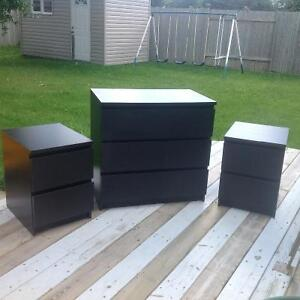 3 drawer dresser and two 2 drawer night stands