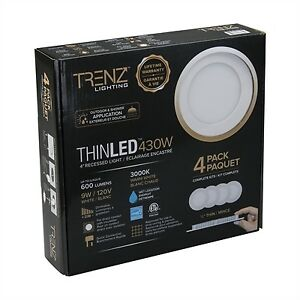 Trenz  THINLED 3000K 4-in Recessed Light (4-Pack) - POT lights