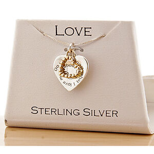 Ladies 18K Gold Over Sterling Silver 925 What I Love Most Heart Pendant Necklace