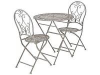 OKA Designer Rivoli Parisian-style outdoor dining table and 2 matching chairs