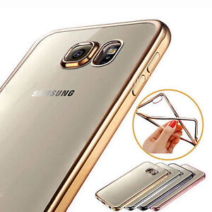 GOLD TRIM FLEXIBLE TRANSPARENT COVER CASE FOR SAMSUNG GALAXY S7