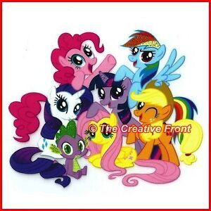 MY LITTLE PONY FRIENDS - Iron On Glitter T-Shirt Heat Transfer - FREE P&P
