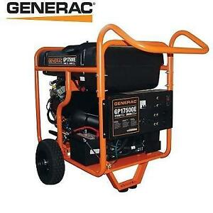 USED GENERAC GAS GENERATOR 5735 200800932 17500 WATT GASOLINE POWERED ELECTRIC START PORTABLE