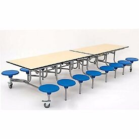 Used Mobile Folding Rectangular School Table Seating Unit with 16 Seats RRP £1285.80